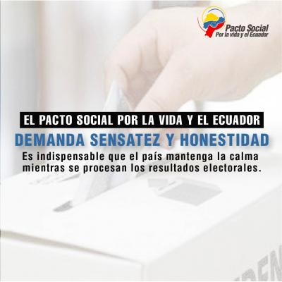 El Pacto Social llama al país a mantener la calma mientras se procesan resultados de elecciones