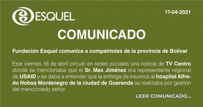 Fundacion Esquel comunica a compatriotas de la provincia de Bolívar